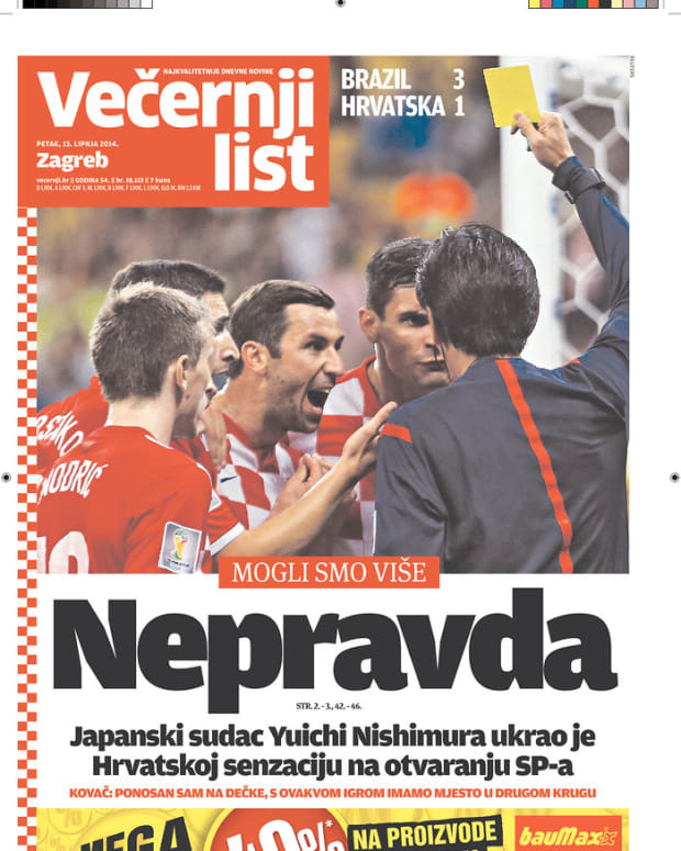 """Injustice,"" reads the headline of Vecernji List (Zagreb, Croatia)"