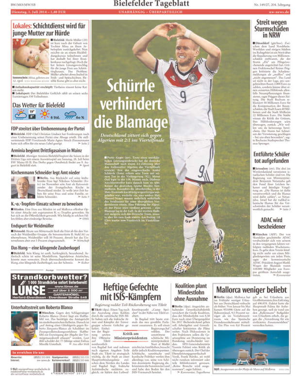 Schurrle Prevents the Embarrassment, reads Neue Westfälische (Bielefeld, Germany)