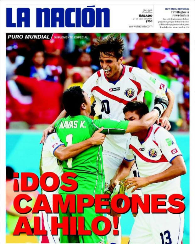 Two Champions in a Row, reads La Nacion (Costa Rica).