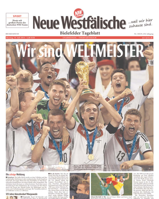 We are World Champions, reads Neue Westfälische (Bielefeld, Germany).
