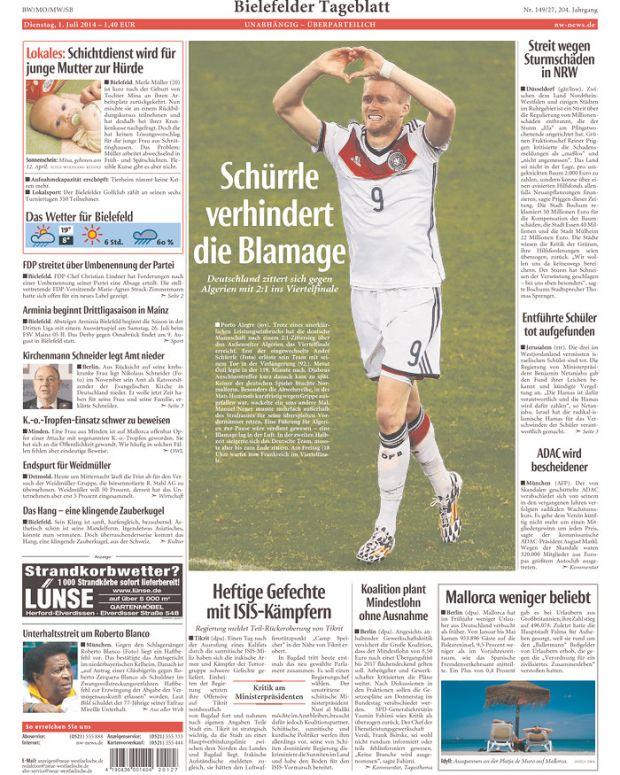 Schurrle Prevents the Embarrassment, reads Neue Westfälische (Bielefeld, Germany)
