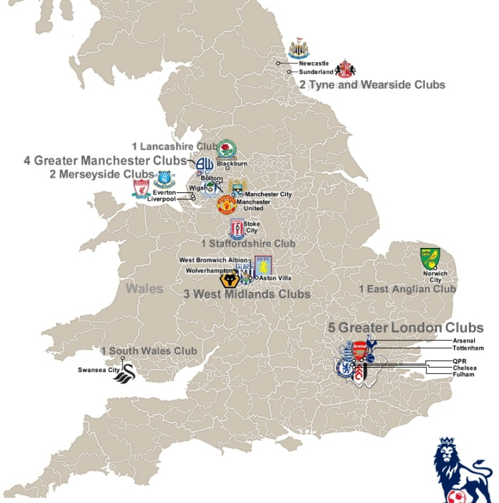 Map of the 2011 12 premier league teams ht to… - Men in ...