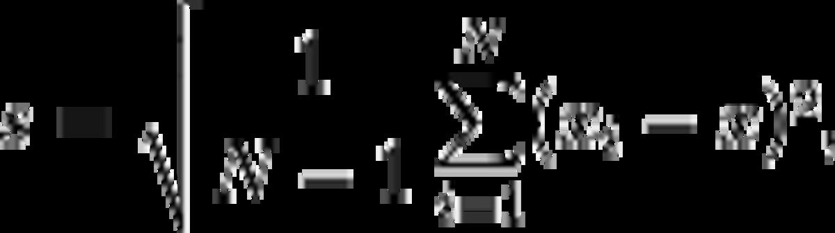 s = \sqrt{\frac{1}{N-1} \sum_{i=1}^N (x_i - \overline{x})^2},