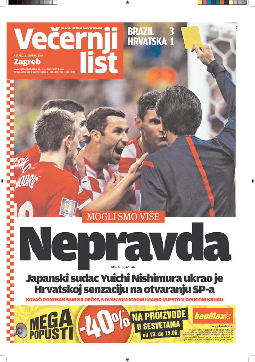 """""""Injustice,"""" reads the headline of Vecernji List (Zagreb, Croatia)"""