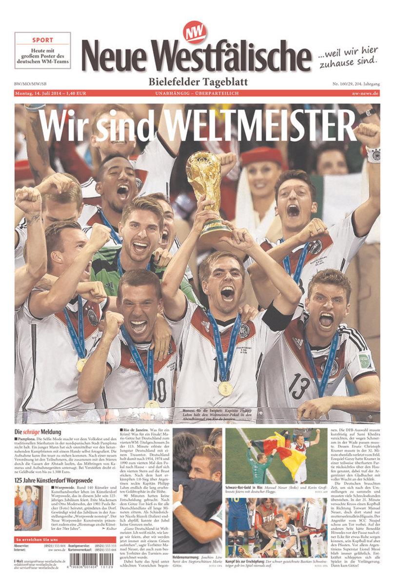 We are World Champions, reads Neue Westfälische (Bielefeld, Germany).
