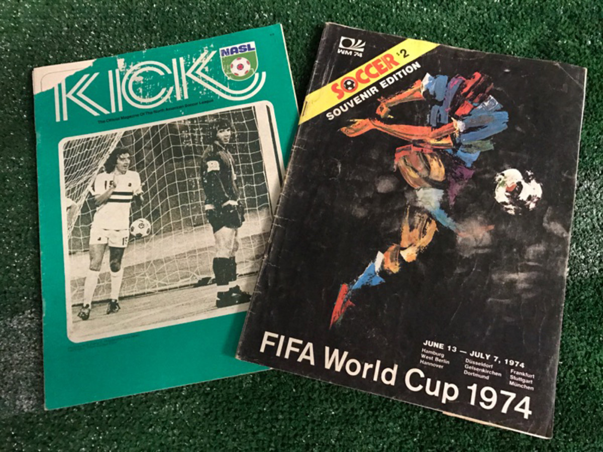 A 1976 edition of Kicks Magazine (left), and a souvenir edition of the 1974 World Cup of Soccer Magazine, (right). Provided by GFOP Adam Ash