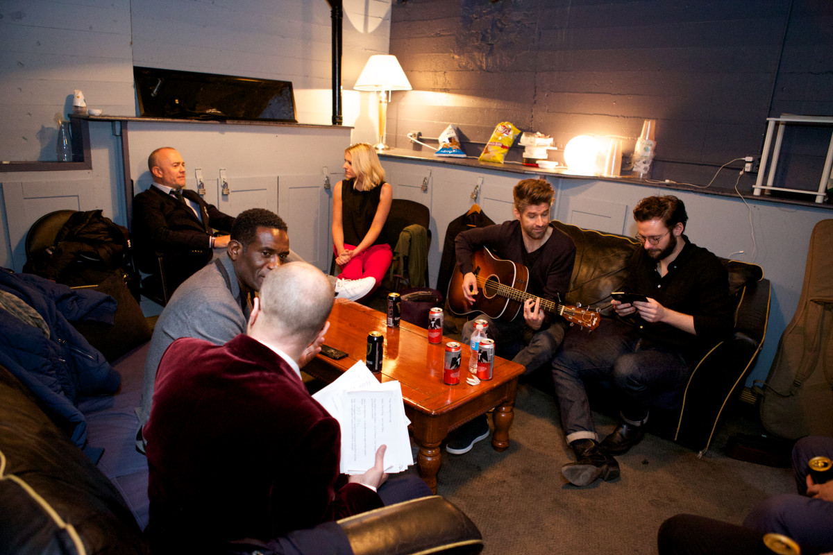 Backstage, (Left to Right) Rog, Robbie Earle, Davo, Recbecca Lowe, Kyle Martino, Ben Clark