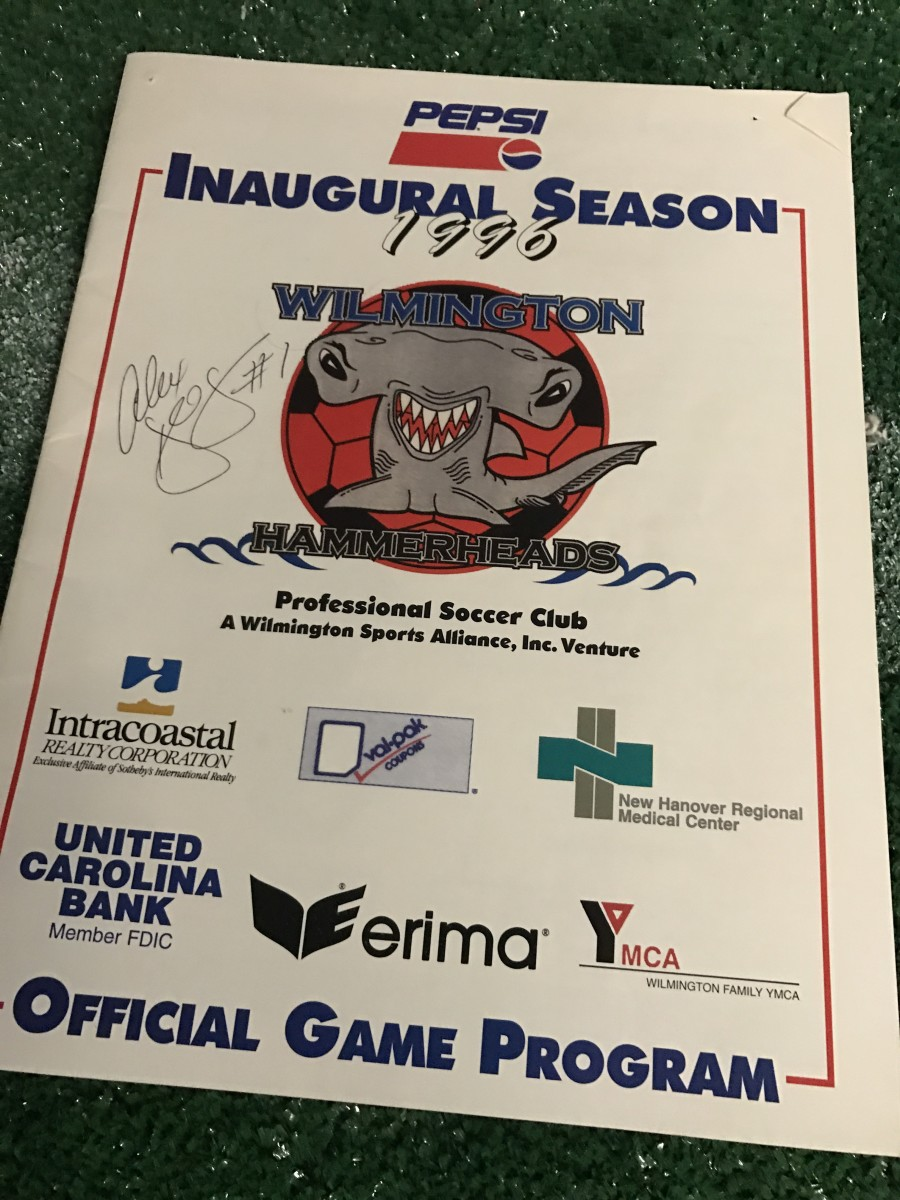 1996 Wilmington Hammerheads game program with signature from GK Alex Deegan, via GFOP Brian Watts