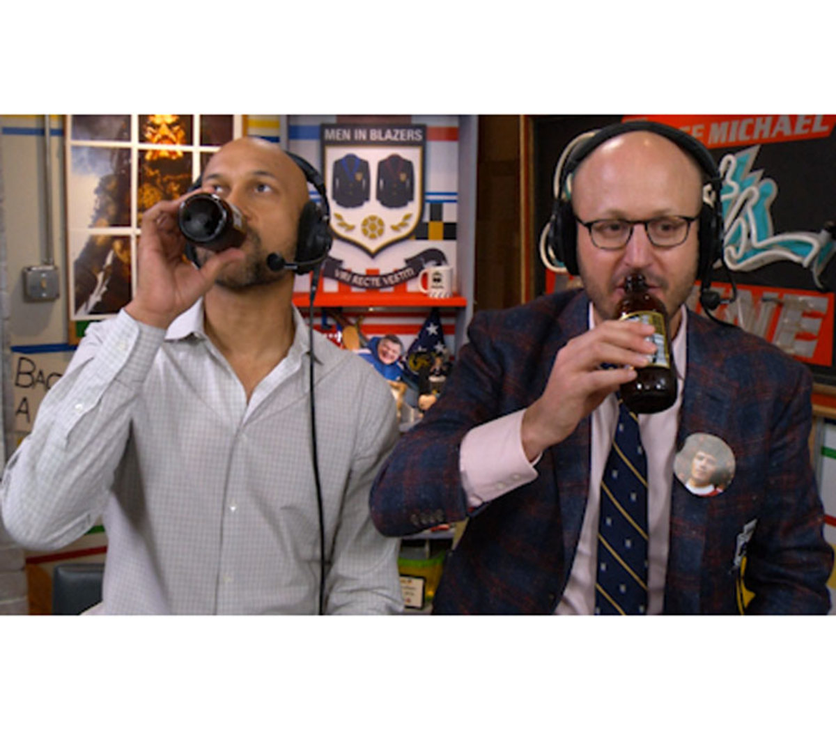 Rog and Keegan-Michael Key sip sip sippin' on some Copper Lager in the Panic Room.